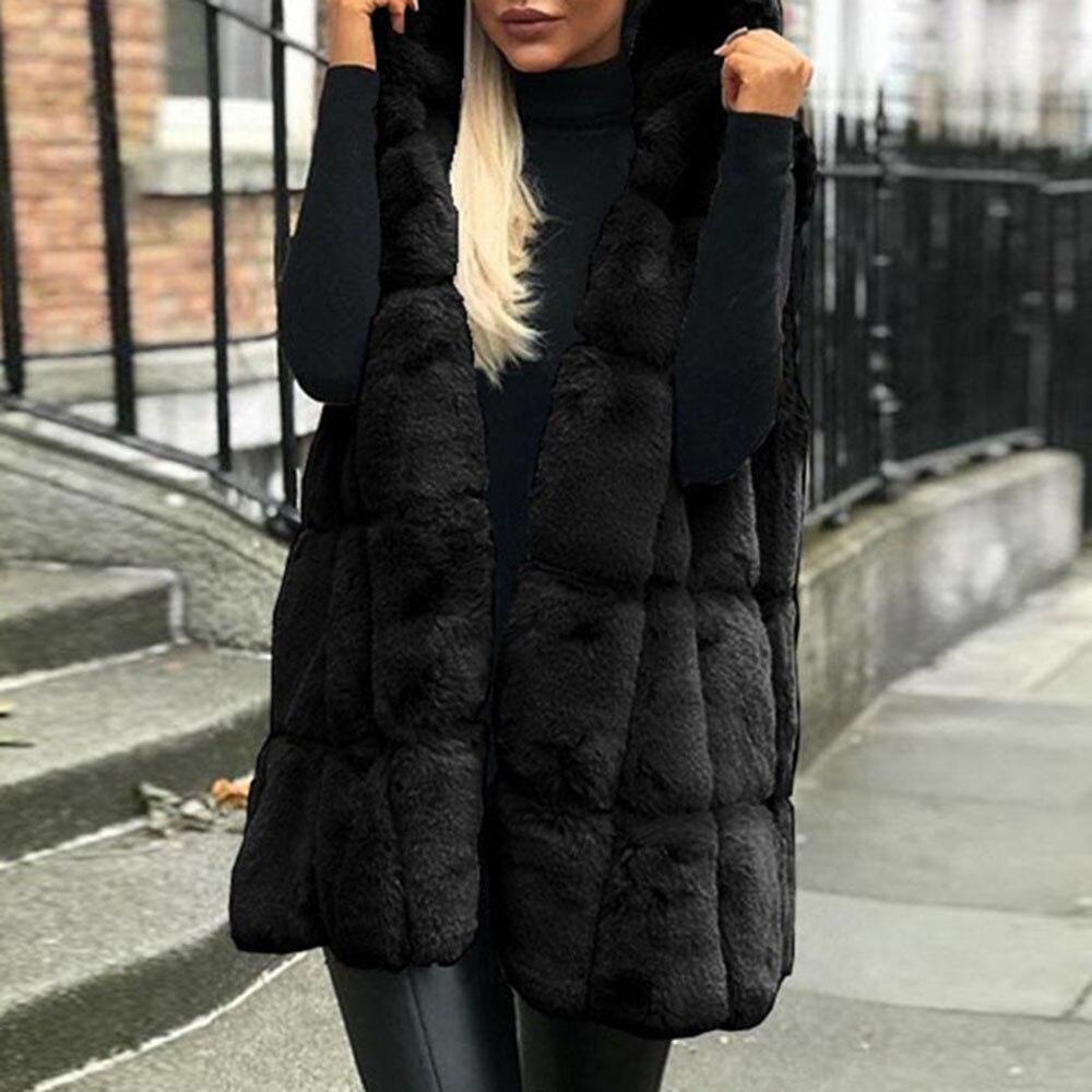 Lady faux fur black white fluffy fur long oversize gilet sleevesless jacket coat