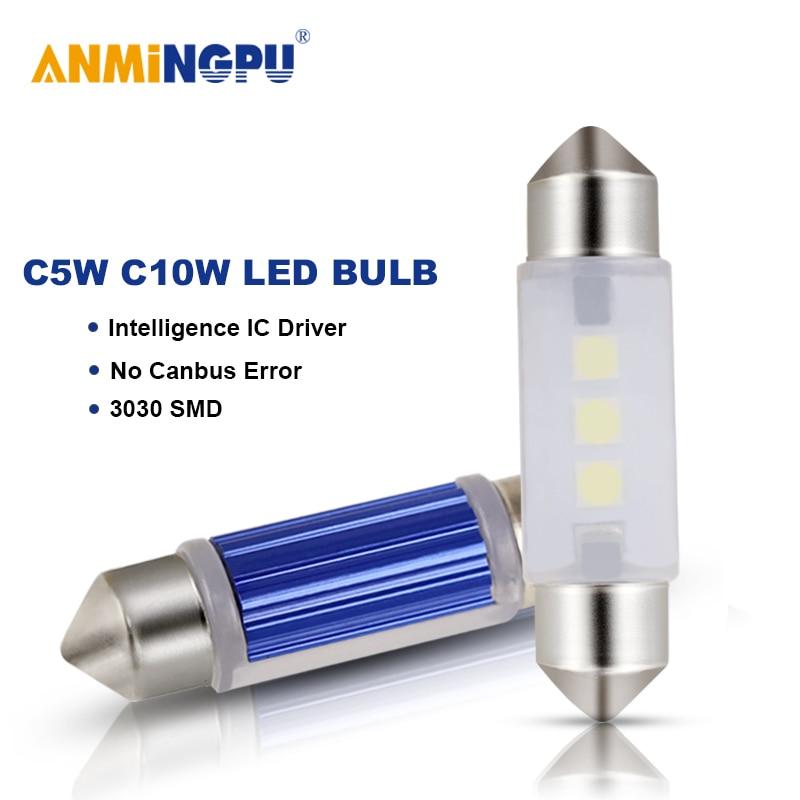 ANMINGPU 2X сигнальная лампа гирлянда C5W светодиодный Canbus 31 мм 36 мм/39 мм/41 мм 3030SMD C10W светодиодный интерьерные лампы для чтения купол светильник бе...