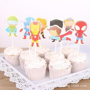 Image 3 - Acessórios de decoração de bolo 12 pçs/lote, super herói/princesa cupcake brinquedo de festa de aniversário da menina