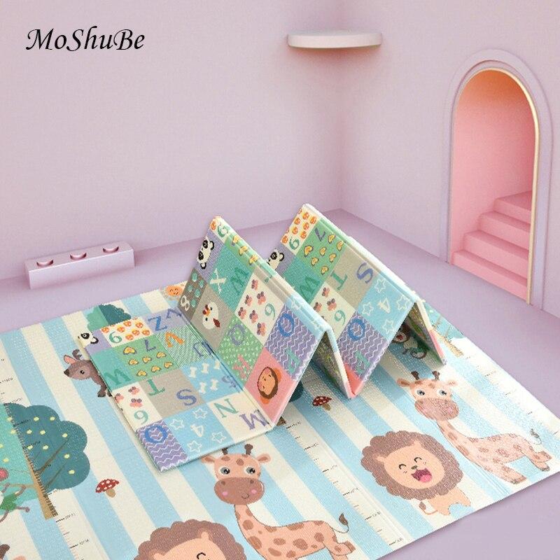 Tapis de jeu pliant pour bébé XPE 1cm d'épaisseur tapis réversible tapis de salle de jeux tapis de pépinière pour nourrissons en mousse