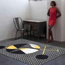 Модный абстрактный золотой белый черный коврик с геометрическим