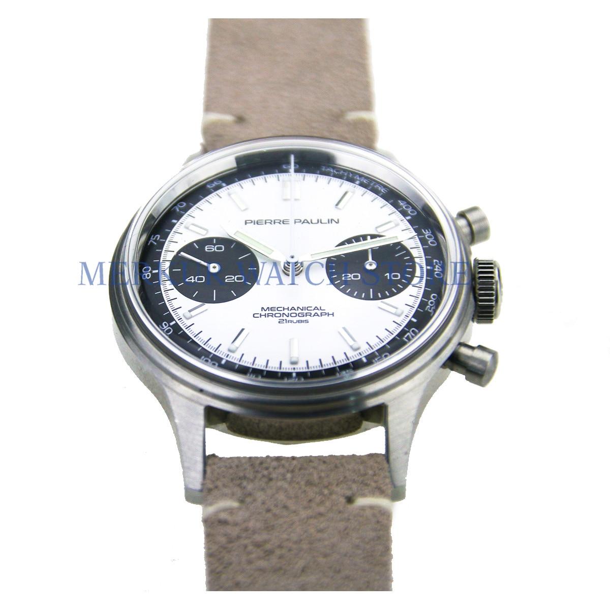 MERKUR FOD Mechanical Chronograph For Seagull 1963 ST1901 Movement Swan Neck Mens Pilot Watch Flieger B-UHR Handwinding Military