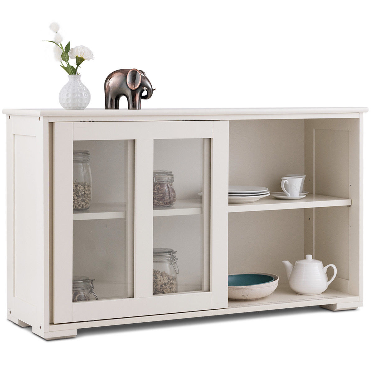 Costway Storage Cabinet Sideboard Buffet Cupboard Glass Sliding Door Pantry Kitchen New   - title=