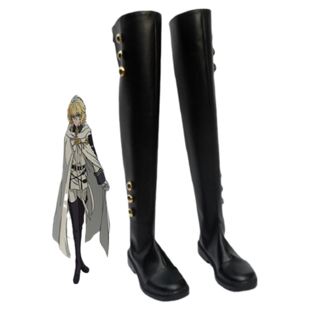 Seraph Of The End Cosplay Shoes Mikaela Hyakuya Boots Military Uniform Cosplay Costume Ferid Bathory Boots