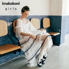 Оригинальная женская одежда imakokoni черно белое кружевное