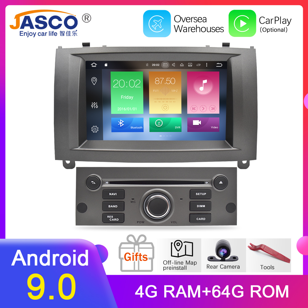 Android 9.0 9.1 lecteur DVD de voiture GPS Glonass Navigation pour Peugeot 407 2004-2010 4GB RAM 32GB ROM Radio multimédia stéréo