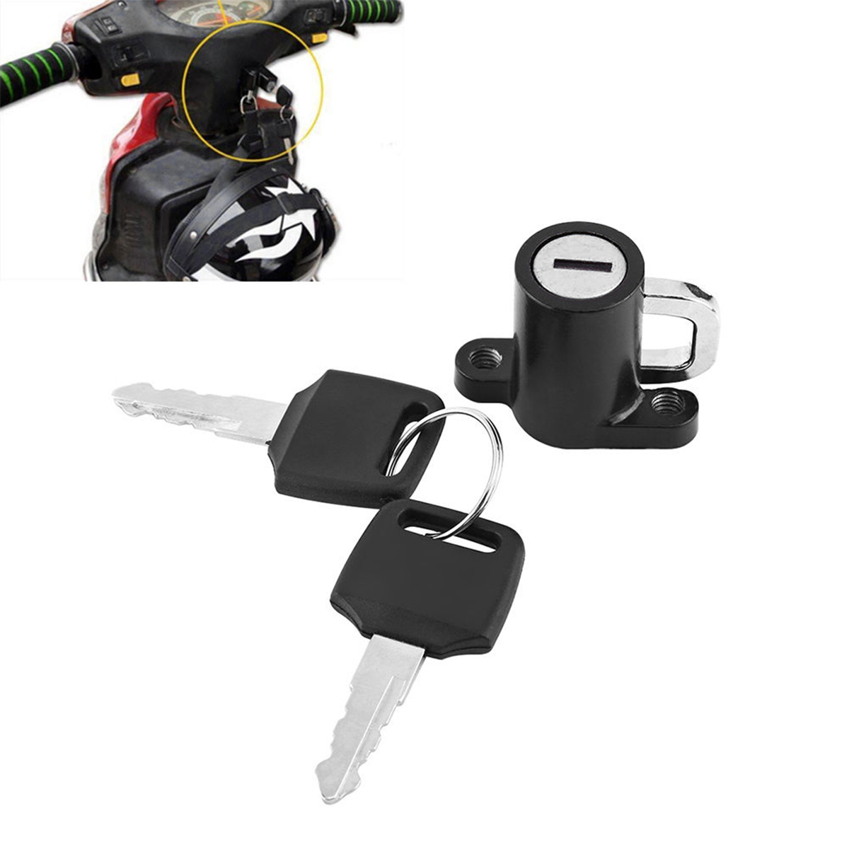 1 Set Helmet Lock Hanger Hook Universal Motorcycle Motorbike Bike Car-Styling And 2 Keys Set Durable