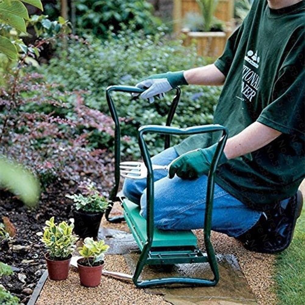 New Garden Kneeler With Handles Folding Stainless Steel Garden Stool With EVA Kneeling Pad Gardening Gifts Supply