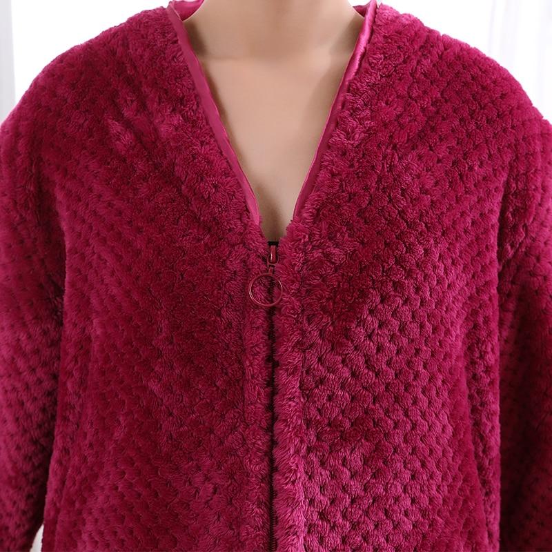 Image 5 - Women Extra Long Plus Size Thick Warm Sleepshirts Men Winter Coral Fleece Zipper Nightgowns Pregnant Robe Flannel Night Dress-in Nightgowns & Sleepshirts from Underwear & Sleepwears