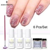Nato Abbastanza 6 Pcs Immersione Nail Powder Set Olografica Rosa Dip Glitter per Unghie Polvere Del Pigmento Unghie Artistiche Decorazione