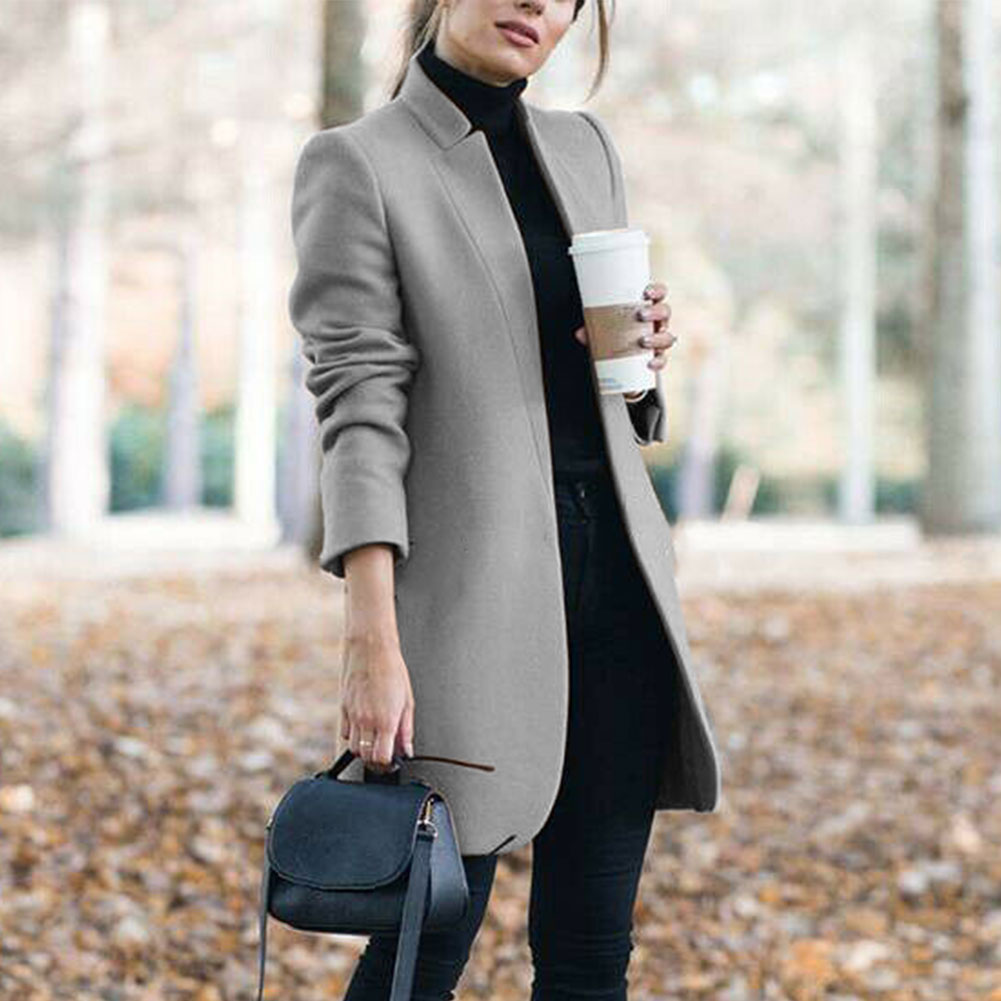 Fashion Outdoor Ladies Winter Warm Long Office Shopping Tops Elegant Trench Outwear Stand Collar Slim Fit