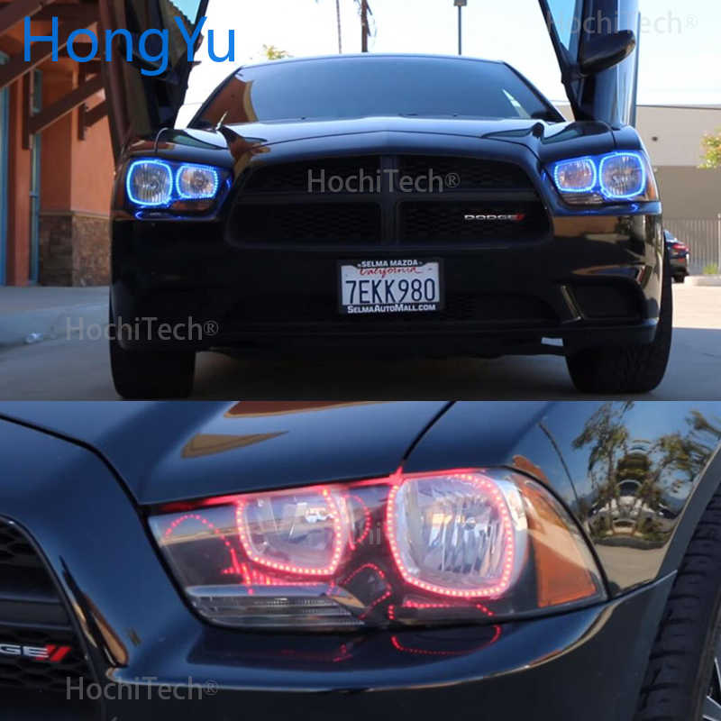 for Dodge Charger SXT Plus 2011 2012 2013 2014 RGB LED Angel Eyes Multi-color with Halo Ring Remote Control Headlight