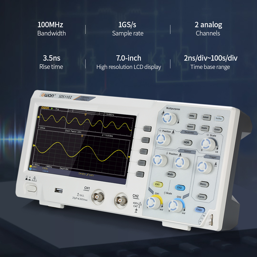 Owon SDS1102 Oscilloscope Oscillometer Digital Storage Oscilloscope 2CH 100MHz 1GS/s 7-inch LCD Display