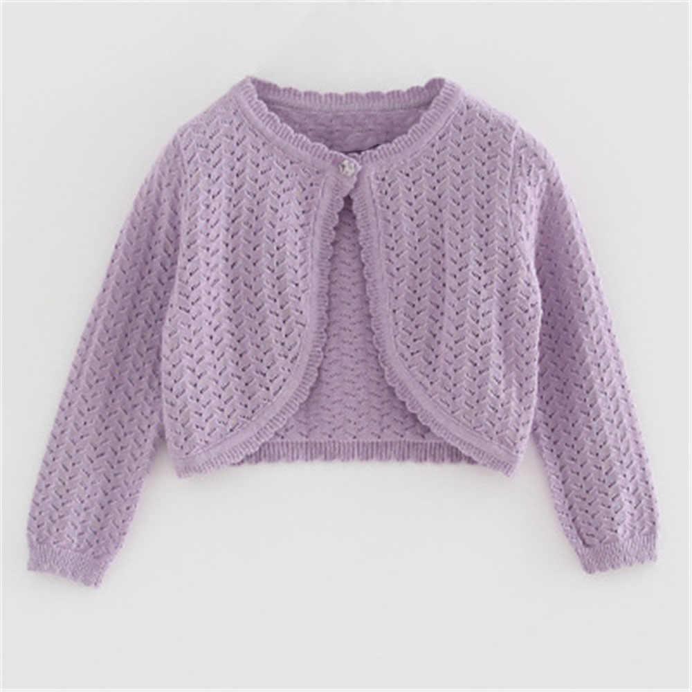 2020 학교 여자 옷 새 봄 가을 아기 캐주얼 솔리드 니트 카디 건 긴 소매 자 켓 여자 작은 목도리 스웨터 AA4436