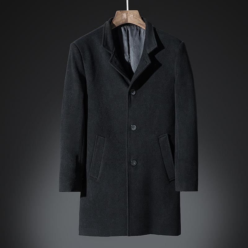 Dhfinery Winter Wool Coat Men Long Sections Lapel 27 %Woolen Coats Black Gray Business Overcoat Mens Windbreaker Jacket 6603