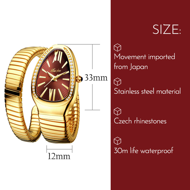 MISSFOX Women's Watches Snake Shape Luxury Wrist Watch For Women Steel Unique Gold Quartz Ladies Watch Clock Relogio Feminino 2