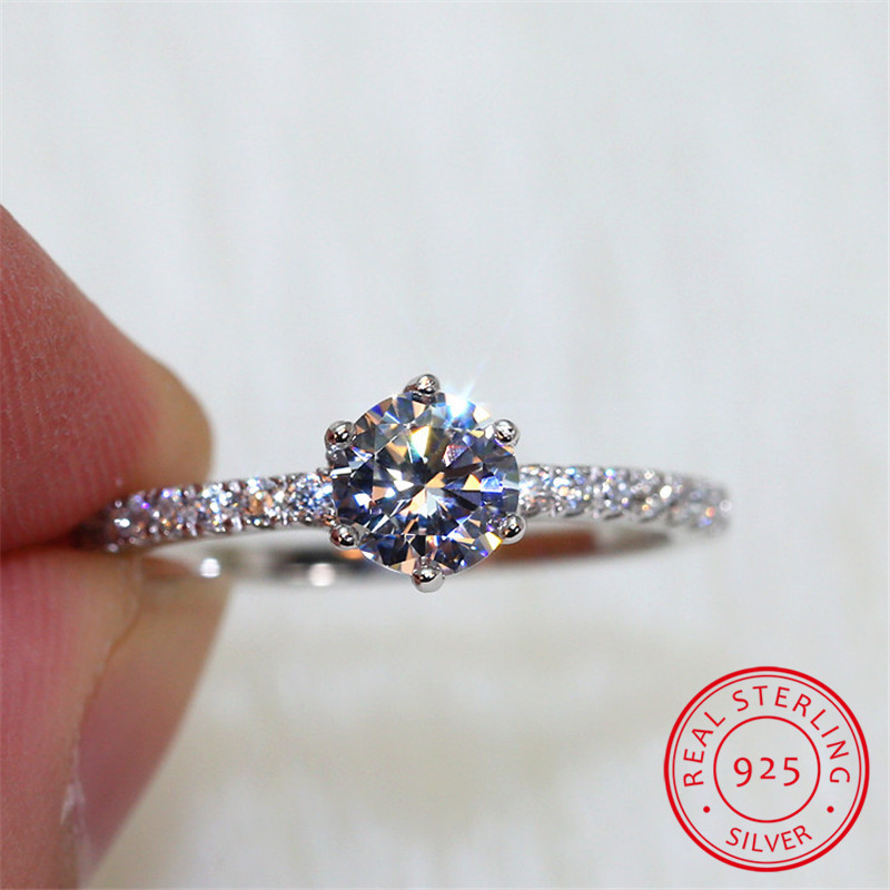 Cute Female Solitaire Round 5A Zircon Stone Ring 925 Sterling Silver Wedding Band Ring Promise Love Engagement Rings For Women