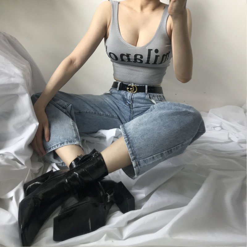 Hdebdef8ad5c74f88a178e8f564c95078I - HELIAR Tops Female Sexy Crop Top Fashion Lettering milano Camisoles Lady Chic White Crop Top Femme Summer Knit Tank Tops women