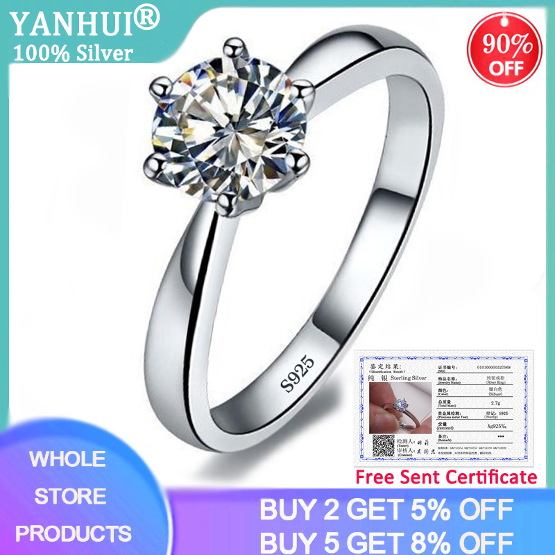 YANHUI With Certificate Round Brilliant Cut 1.0ct Carat 6mm Zirconia Diamond Ring Silver 925 Jewelry Wedding Ring for Women R003