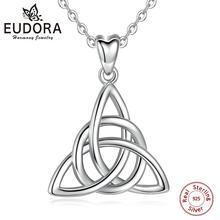 Eudora gerçek 925 ayar gümüş üçgen Celtics Knot kolye kolye kadın moda gümüş takı için doğum günü hediyesi kutusu CYD138