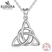 Eudora prawdziwe 925 srebro trójkąt Celtics Knot wisiorek Neckalce kobiety moda srebrna biżuteria na pudełko na prezent urodzinowy CYD138