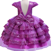Pegeant/Детские платья с блестками и открытой спиной для девочек; платья принцессы для свадебной вечеринки; многослойные платья-пачки для первого причастия для маленьких девочек