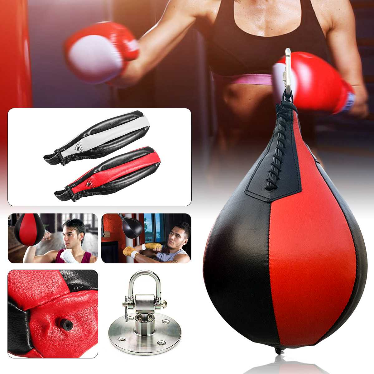 PU Boxing Fitness Muay Thai Double End Boxing Speed Ball Punching Bag Pear