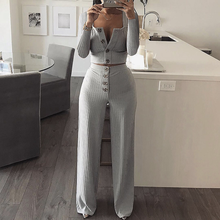 Autumn Women Knitted Rib Sexy 2 Piece Set 2019 Winter Casual Gray  Matching Sets Outfit Elegant Straight Pants