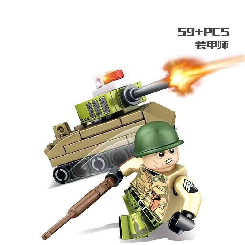 Para legoing soldados militares ww2 T-34 m4 tanque blindado divisão veículo swat arma do exército figura blocos de construção brinquedo kit legoings