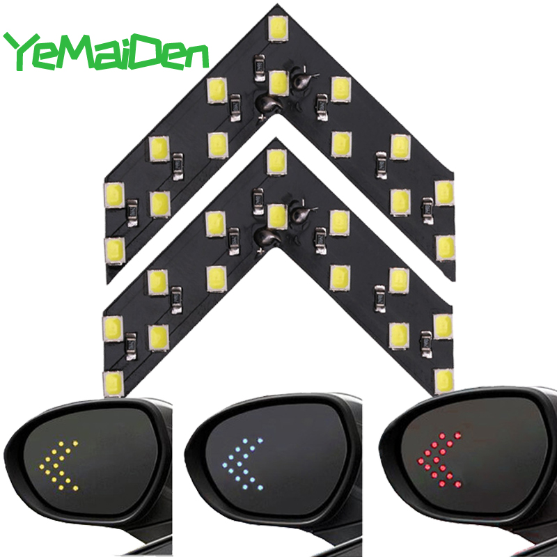 1x Car Styling LED Turn Signal Light Rear View Mirror Arrow Panels Indicator Light Rearview Mirror Signal bulb 12V <font><b>14</b></font> <font><b>SMD</b></font> Yellow image