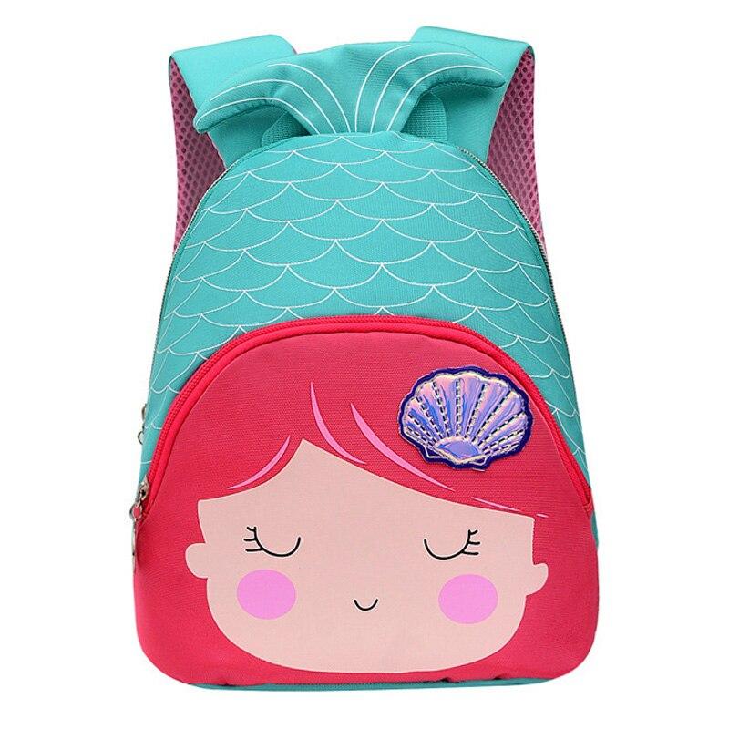 3D Little Mermaid Princess School Bags For Girls Cute Sweet Bags Kindergarten Children Backpacks For Kids Gift Mochila Escolar