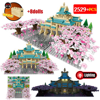 2529PCS City Street View Tree House Flower Building Blocks New Cherry Blossom Season Architecture Bricks Toys for Girls Children