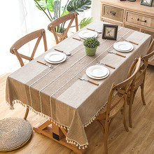 Bawełniane lniane obrusy, przeciwzmarszczkowy obrus przeciwzmarszczkowy, Tassel prostokąt kryty i stół zewnętrzny