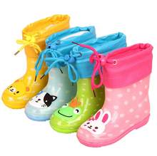 Fashion Children shoes Waterproof Rainboots PVC rubber Boys Girls Baby Cartoon shoes Antiskid Kids Water shoes Removable(China)