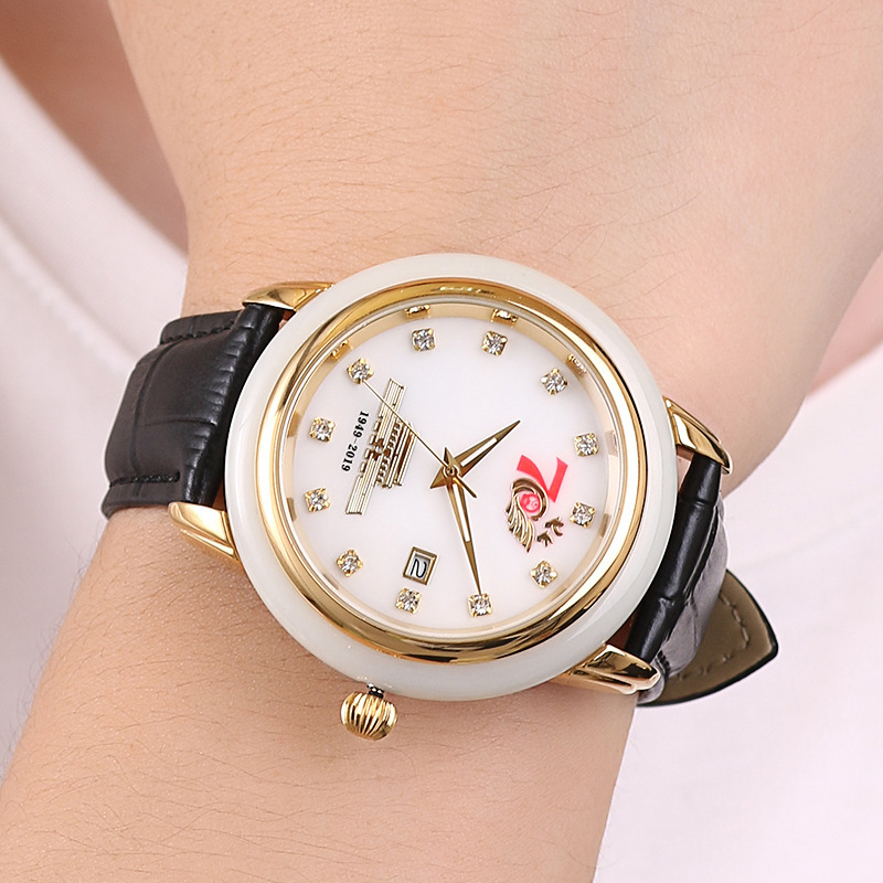 Authentic Jade Edge Of Natural Hetian Jade Jade Gift Table National Day Parade Military Watches Watch Man Woman A Custom