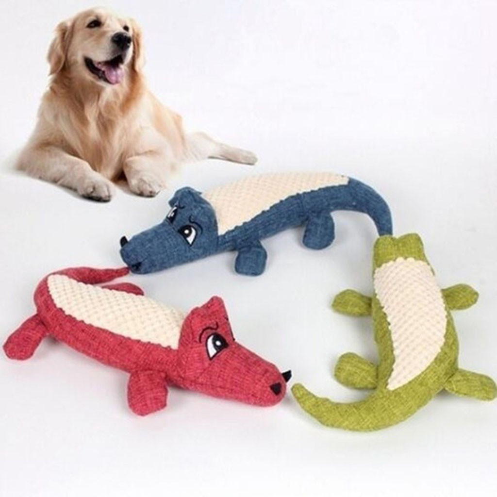 Забавные мягкие игрушки для собак и кошек, жевательные игрушки, имитация крокодила, генератор встроенного звука, плюшевые игрушки-пищащие животные-3