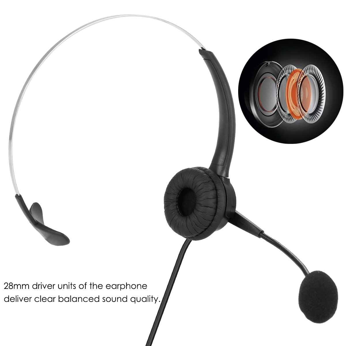 Universal Wired Headset With Noise Concealing Mic Professional Corded Telephone​ Working On-Ear USB Headphone For Laptop Desktop