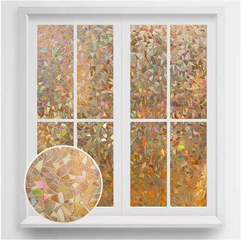 Rabbitgoo Self-Adhesive Privacy Window Film Grayish Brown Rainbow Stained Glass Films Decorative Cling