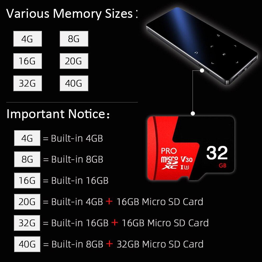 Redant MP4 Speler Met Bluetooth Ingebouwde Luidspreker Touch Key Fm Radio Video Play E-Book Hifi Metalen Mp 4 Muziekspeler 8G 16G 32 Gb 2