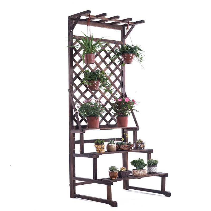 Rack Solid Wood Multi-storey Ladder Flower Rack Outdoors Flowerpot Frame Indoor A Living Room To Ground Storage Flower Airs