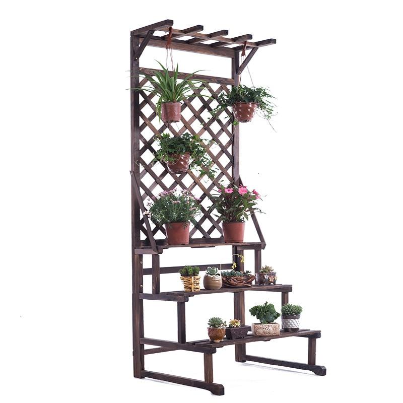 Rack Solid Wood Multi-storey Ladder Flower Rack Outdoors Flowerpot Frame Indoor A Living Room To Ground Storage Flower Airs