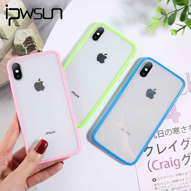 IPSWOO Silicone Candy Color Clear Phone Case For IPhone 11 Pro Max X XS XR Xs Max Soft TPU Back Cover For IPhone 6 6s 7 8 Plus