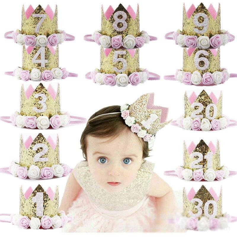 1PC fille garçon argent 2 ans anniversaire couronne fête chapeaux enfants princesse couronne bandeau bébé jouets 1st anniversaire décor fête approvisionnement