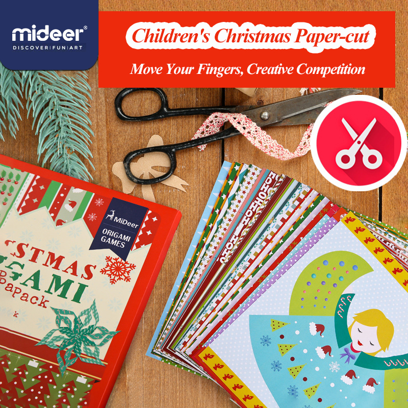 MiDeer Children's Christmas Paper-cut Children's Primary Paper-cut >3 Years Paper Crafts Set Christmas Decoration Craft