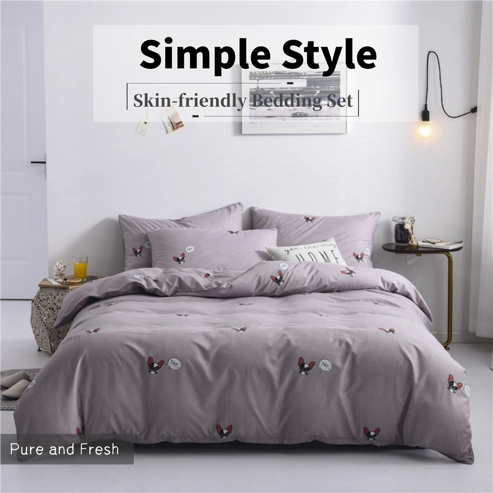French Bulldog Grey Bedding Sets Cute Cat Animal Printed Queen Comforter Cover Sets Cartoon Bed Linen For Girl Child Bed