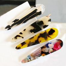 New Women Elegant Leopard Print Acetate Geometric Hair Clip Headband Hairpin Barrette Headwear Fashion Accessories
