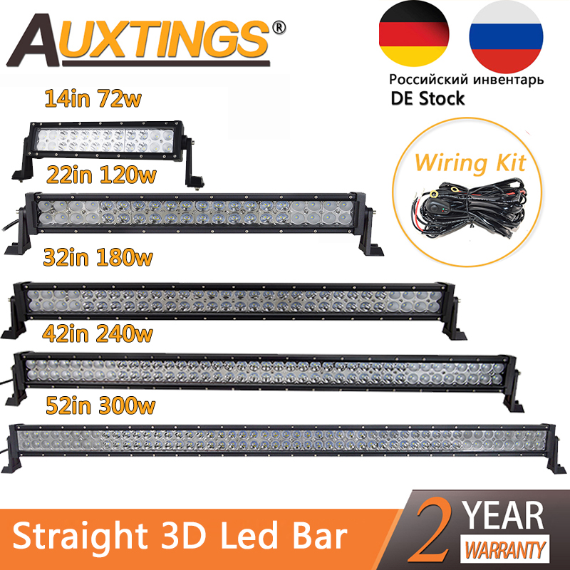 Auxtings Dual Row 12V Straight Led Work Light Bar 14 22 32 42 52'' Inch 240W 300W Offroad Car Led Light Bar Combo 4x4 SUV ATV