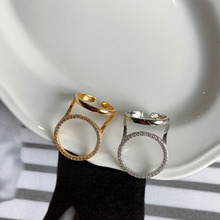 Korean version fashion and simple personality hipster sterling silver 925 women's gold and silver open ring zircon ring jewelry