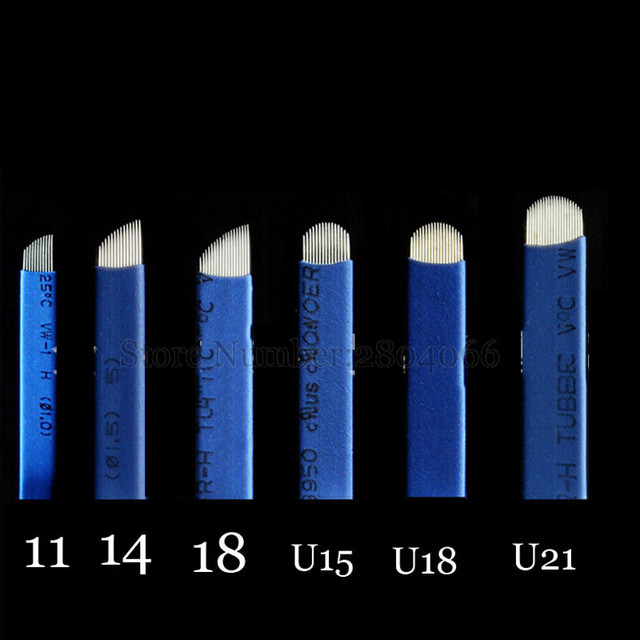 0.18mm Laminas Agulhas Tebori Microblading needles Permanent Makeup Tattoo Needle 7 9 12 14 17 21 Blades for Eyebrow Manual Pen 3