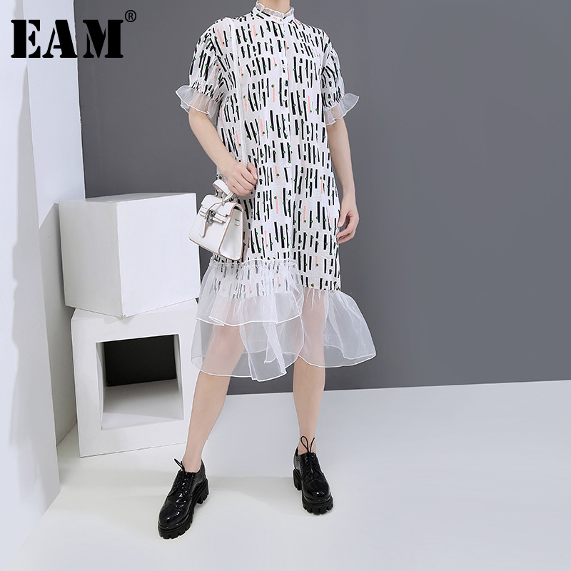 [EAM] Women Printed Ruffles Organza Big Size Shirt Dress New Stand Collar Short Sleeve Loose Fashion Spring Summer 2020 1U159
